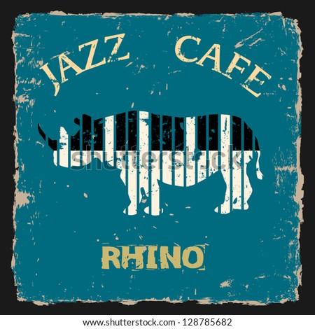 Musical Rhino. Raster version - stock photo