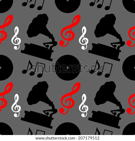 Musical seamless pattern with music notes, treble clef, gramophone. Wallpaper. Endless print silhouette background texture - raster version  - stock photo