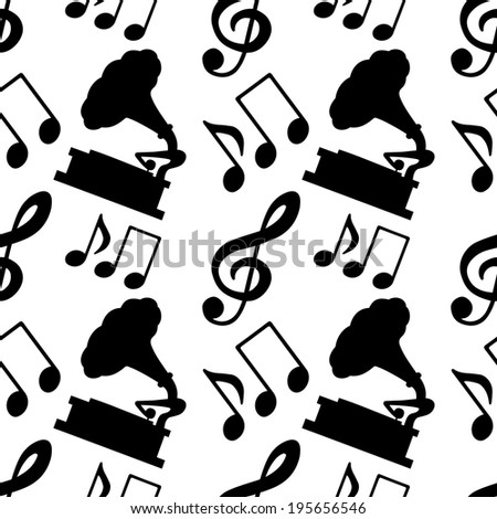 Musical seamless pattern with silhouettes music notes, treble clef, gramophone in black and white - raster version - stock photo