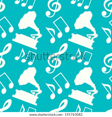 Musical seamless pattern with silhouettes music notes, treble clef, gramophone - raster version - stock photo