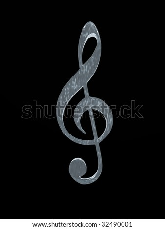 Musical symbol made of ice on black background