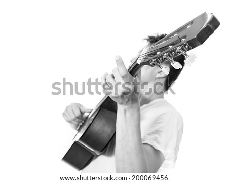 Musician plays Acoustic Guitar, B&W processed and isolated - stock photo