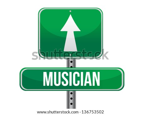 musician road sign illustration design over a white background