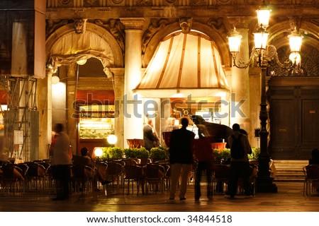 Musicians in San Marco Plaza, Venice, Italy - stock photo