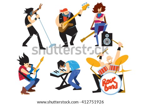 Musicians rock group isolated on white background. Singer, guitarist, drummer, solo guitarist, bassist, keyboardist. Rock band.  - stock photo