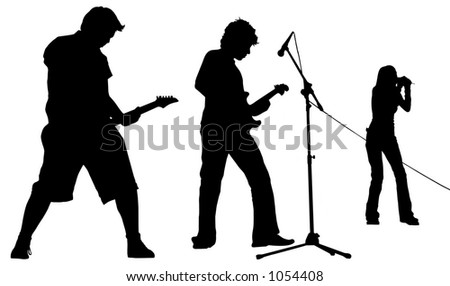 musicians with clipping path - stock photo