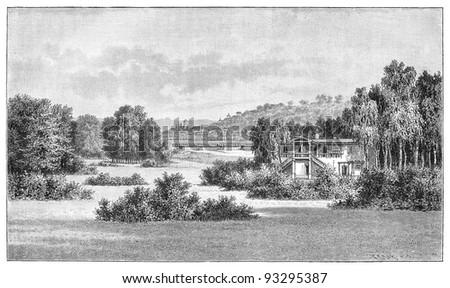 Muskau park (Germany and Poland) / vintage illustration from Meyers Konversations-Lexikon 1897 - stock photo