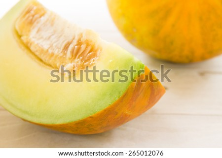 Muskmelons (or Mush melons) - same family with Honeydew & Cantaloupe - stock photo