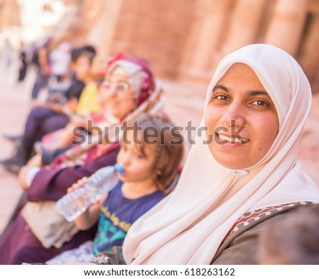 Muslim Arabic girl during touristic travel