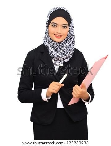 Muslim business woman smile to the camera while hold a pen and file, isolated. - stock photo