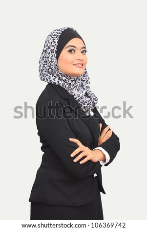 Muslim business woman with text space isolated on white - stock photo