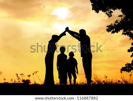 Muslim family home together - stock photo