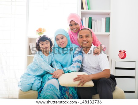 muslim malays family Indoor portrait - stock photo