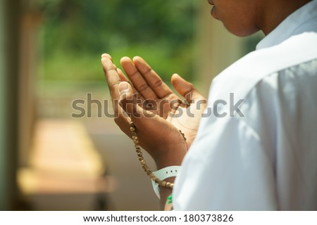 muslim pray. - stock photo
