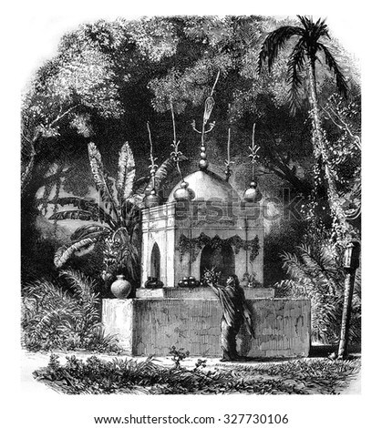 Muslim shrine in Chandannagar, vintage engraved illustration. Magasin Pittoresque 1878.