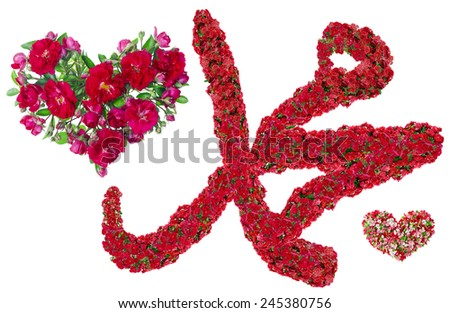Muslim symbol - I love a Muhammad -made from fresh bloody red roses. Isolated handmade abstract collage - stock photo