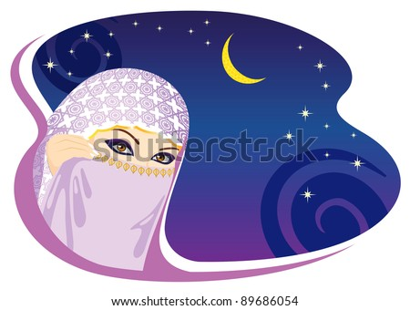 Muslim woman and arabian night. Raster version.