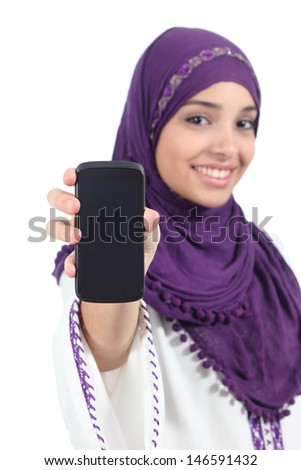 Muslim woman showing a blank smartphone screen isolated on a white background - stock photo