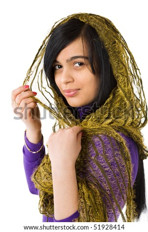 Muslim Woman wearing vivid dress and scarf isolated on white