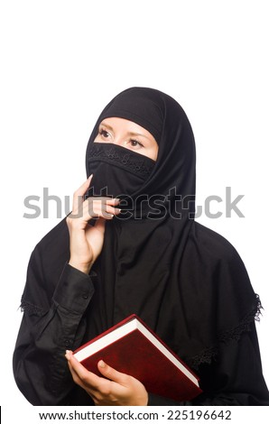 Muslim womanwith book isolated on the white - stock photo