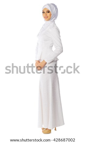 Muslim young woman isolated - stock photo