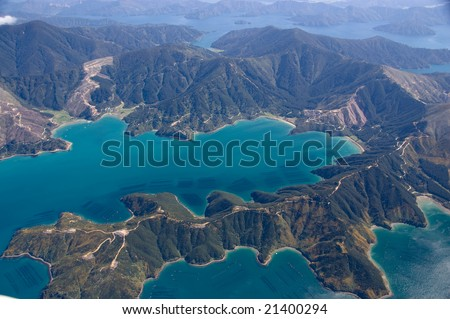 Mussel farms in the Marlborough Sounds, New Zealand - stock photo