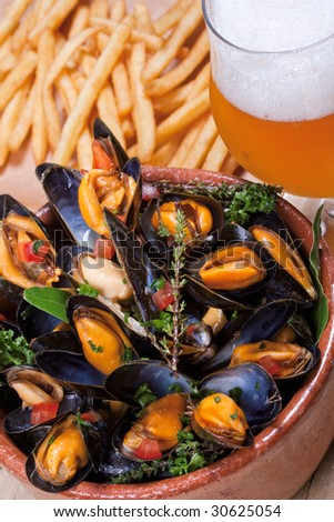 Mussels, cooked in white wine with aromatic herbs from Provence, French fries and a glass of beer