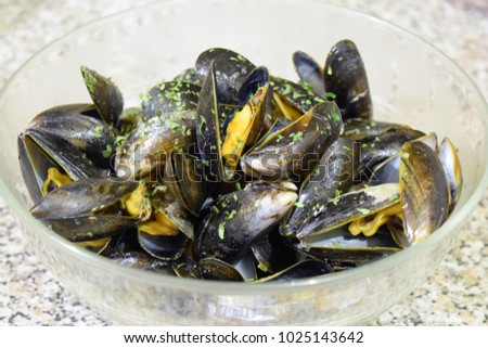 Mussels dinner homemade with spices . Fresh, delicious, tasty seafood. Easy to cook. Enjoy with family.