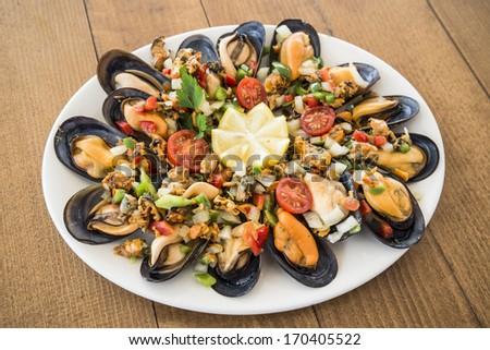 Mussels vinaigrette - stock photo