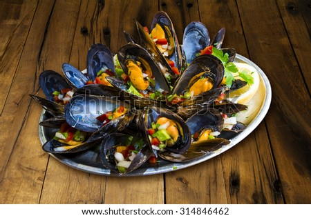 Mussels vinaigrette - stock photo