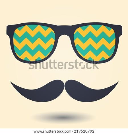 Mustache and glasses icon - stock photo