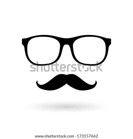 Mustache and glasses. Raster version. - stock photo