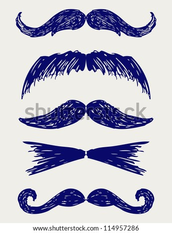 Mustache. Doodle style. Raster version - stock photo