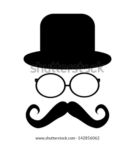 Mustache, glasses and a hat - stock photo