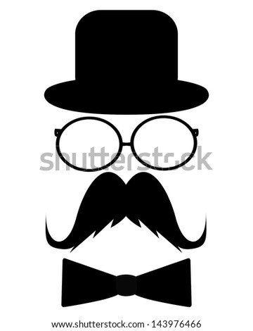 Mustache, hat, sunglasses and a butterfly - stock photo