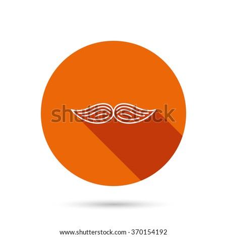 Mustache icon. Hipster symbol. Gentleman sign. Round orange web button with shadow. - stock photo