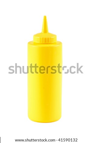 Mustard bottle isolated on white - stock photo