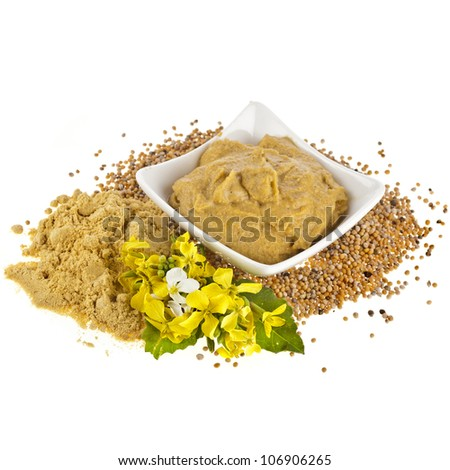 Mustard  dish sauce and powder, seeds with mustard flower bloom on white