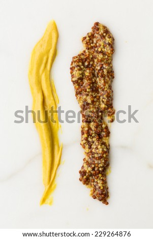 Mustard sauce and Grain Mustard on white surface - stock photo