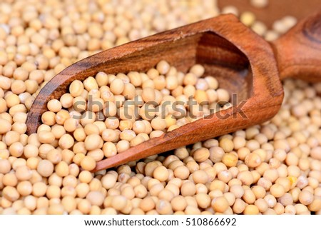 Mustard seeds in a wooden scoop on table