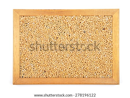 Mustard seeds in frame - stock photo