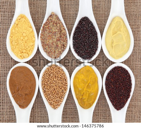 Mustard selection of powder, seed, french, dijon, english and wholegrain in white porcelain spoons over hessian background. - stock photo