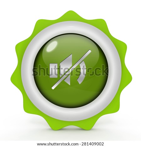 mute circular icon on white background - stock photo