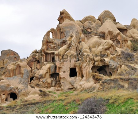 Mutiple Entrances at different levels to the Religious Buildings at Goreme Turkey