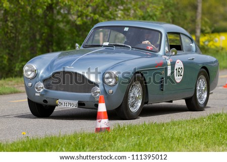 MUTSCHELLEN, SWITZERLAND-APRIL 29: Vintage race touring car Aston Martin DB2 MK III from 1958 at Grand Prix in Mutschellen, SUI on April 29, 2012.  Invited were vintage sports cars and motorbikes.
