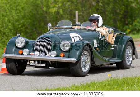 MUTSCHELLEN, SWITZERLAND-APRIL 29: Vintage race touring car Morgan at Grand Prix in Mutschellen, SUI on April 29, 2012.  Invited were vintage sports cars and motorbikes.