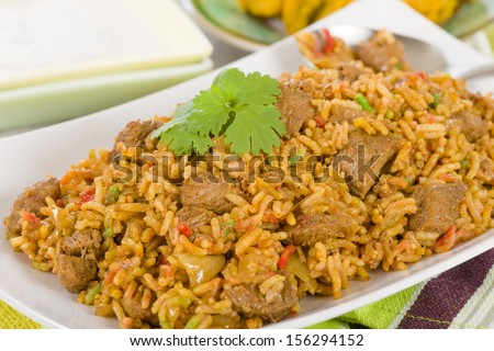 Mutton Byriani - Lamb and rice cooked with spices. Served with raita. Traditional South Asian Cuisine. - stock photo