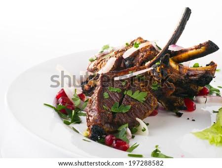 mutton meat kebab - stock photo