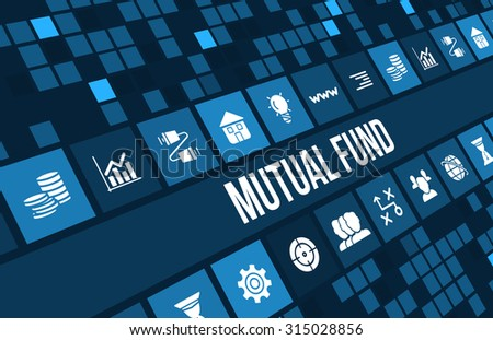 Mutual fund concept image with business icons and copyspace. - stock photo