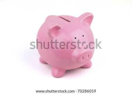 My Little Pink Piggy Bank. - stock photo